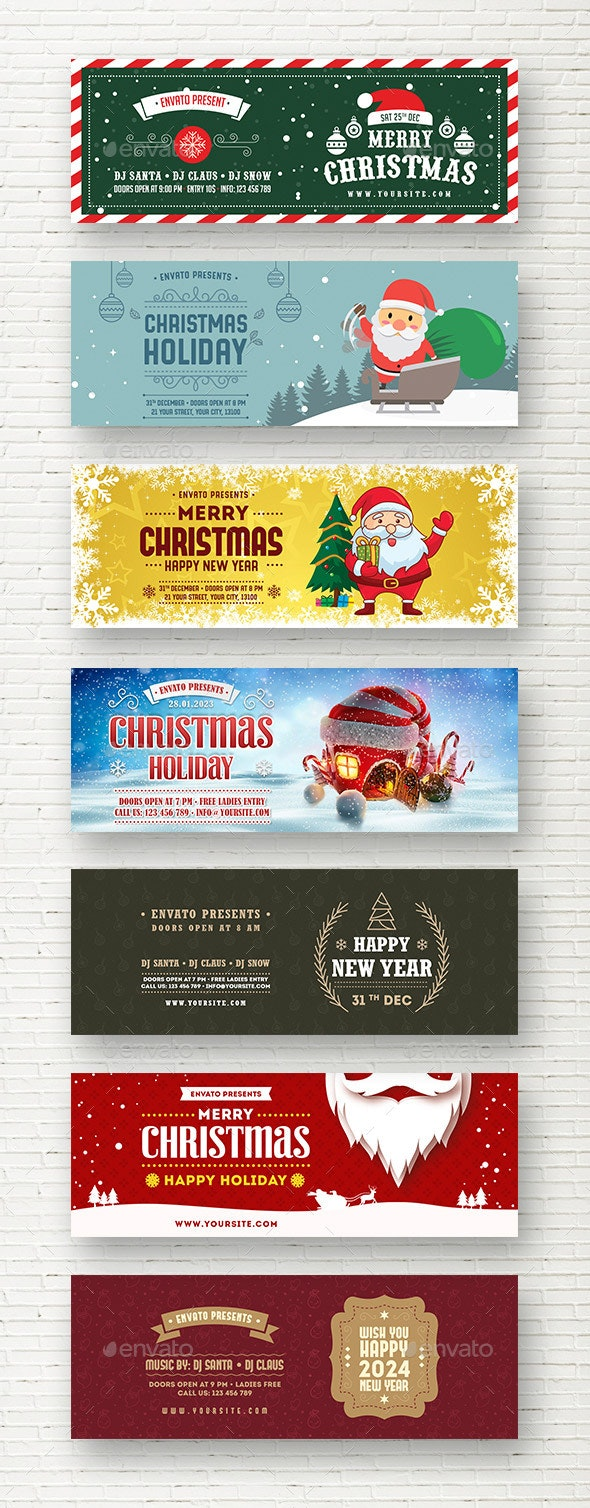Merry Christmas New Year Web Sliders - Sliders & Features Web Elements