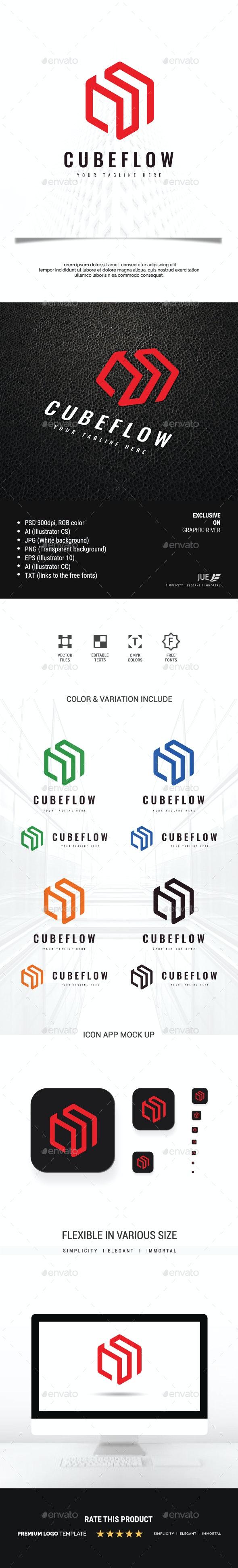 Abstract Cube Flow Logo - Buildings Logo Templates