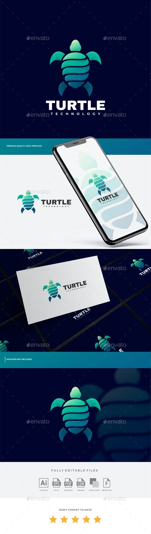 Turtle Gradient Logo Template - Animals Logo Templates