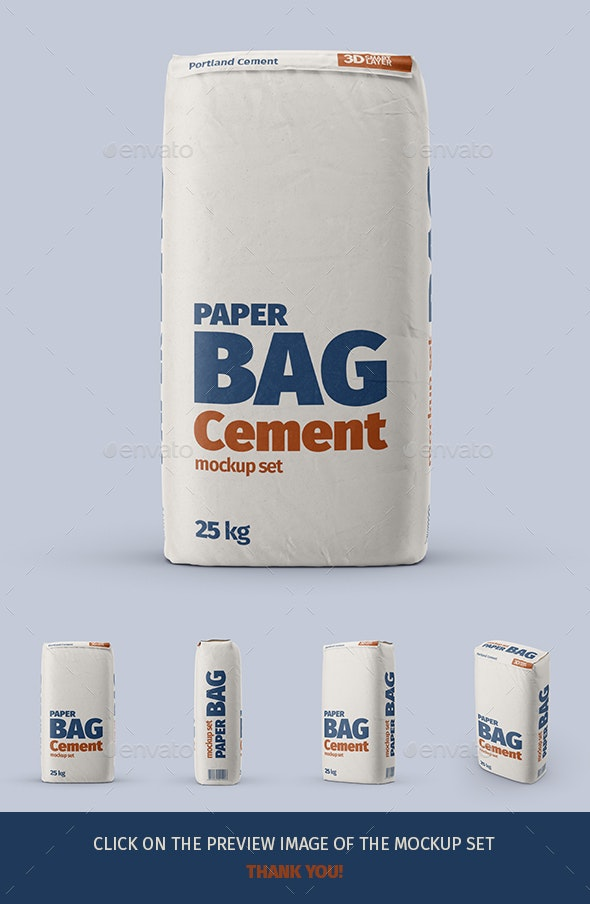 Paper Cement Bag Mockup Set - Miscellaneous Packaging