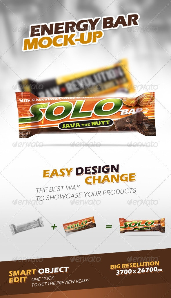 Energy Chocolate Bar Mock-Up - Food and Drink Packaging
