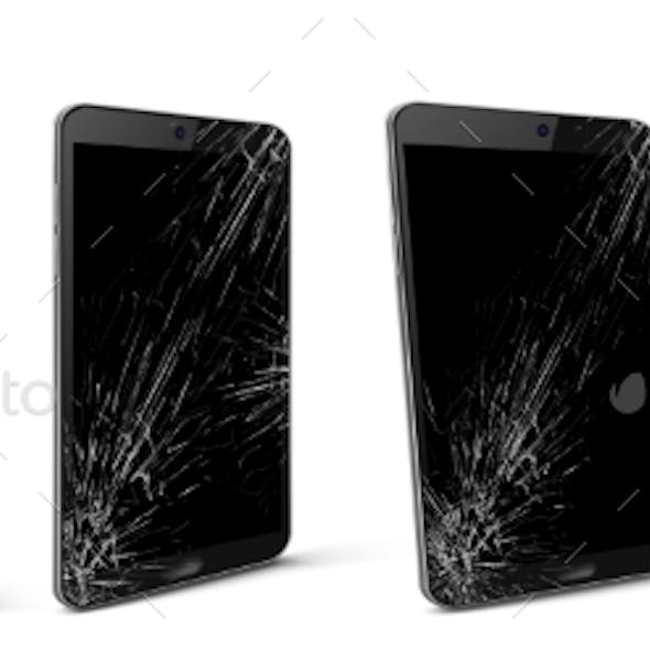 Mobile Phone with Broken Screen, Gadget Device Set