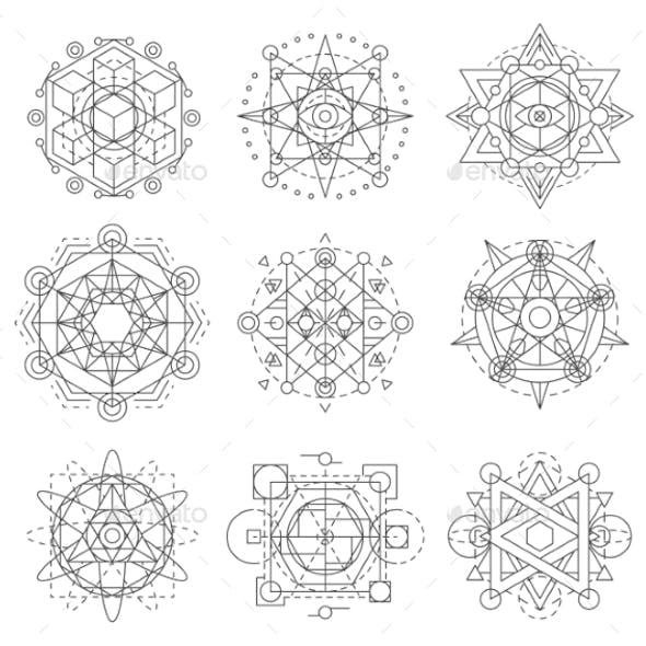 Sacred Geometry Symbols, Esoteric Astrology Vector