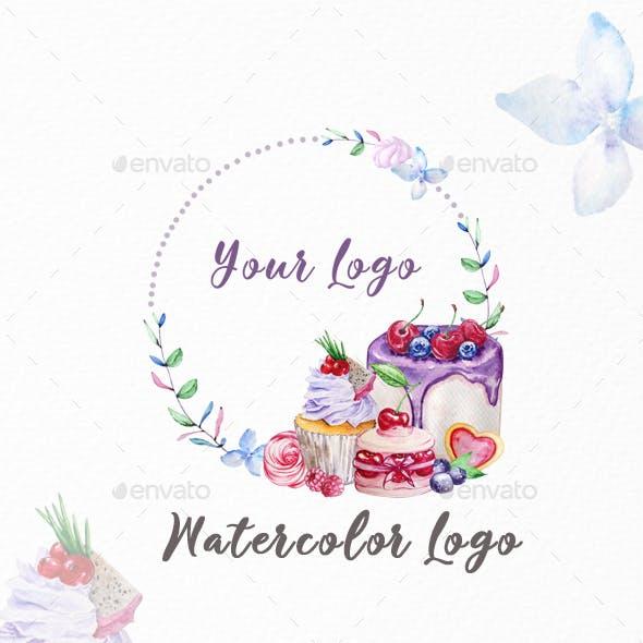 Premade Logo Cupcake, Watercolor Logo
