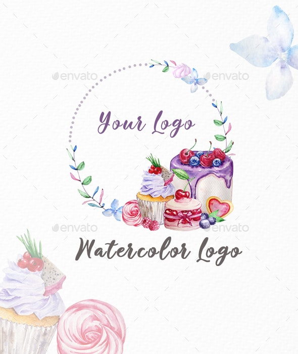 Premade Logo Cupcake, Watercolor Logo - Logo Product Mock-Ups