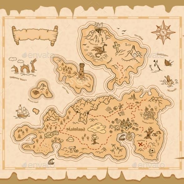 Treasure Map Old Paper, Pirate Island Adventure
