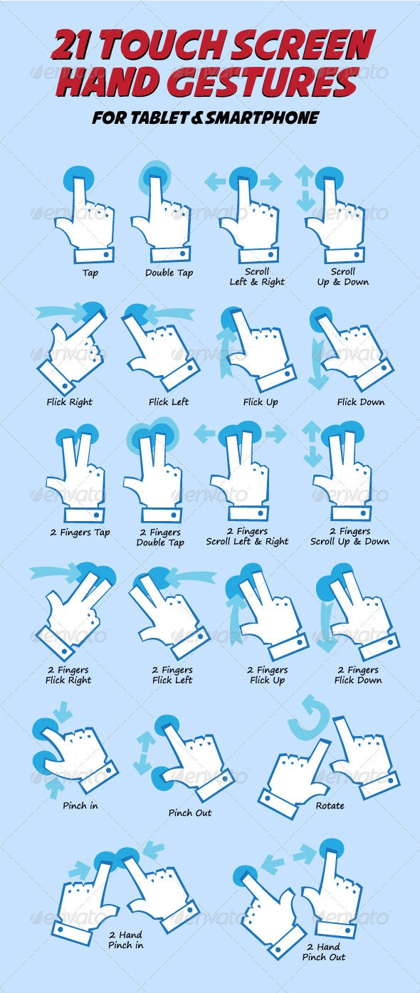 Touch Hand Gesture Pack - Conceptual Vectors