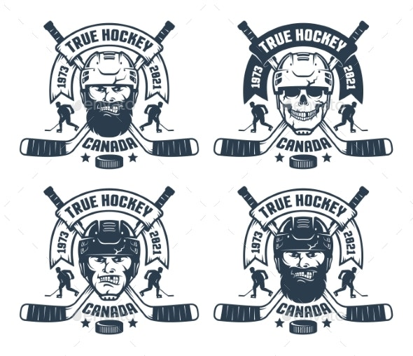 Hockey Team Logo in Retro Style - Miscellaneous Vectors