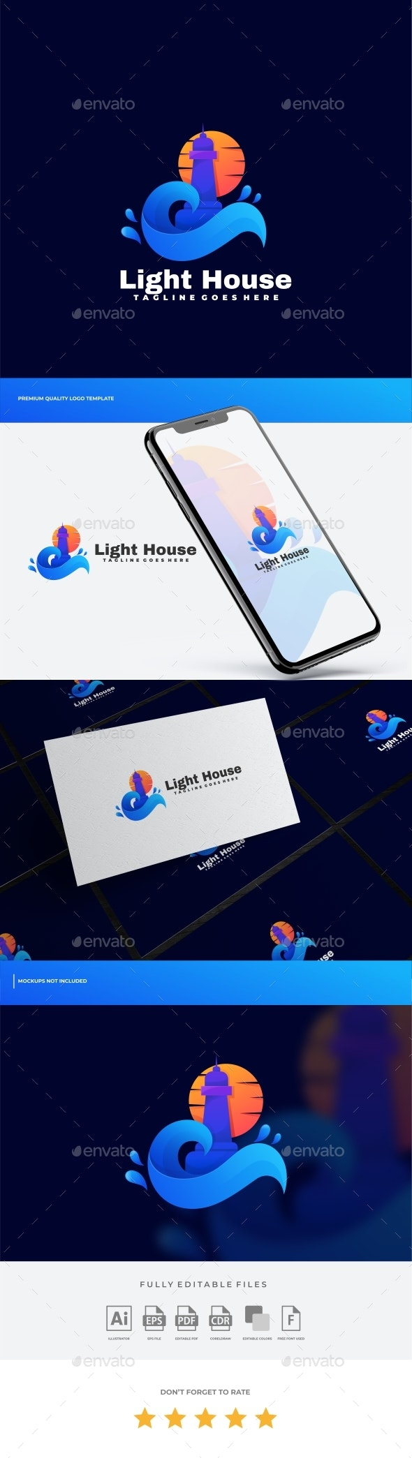 Lighthouse Gradient Logo Template - Buildings Logo Templates