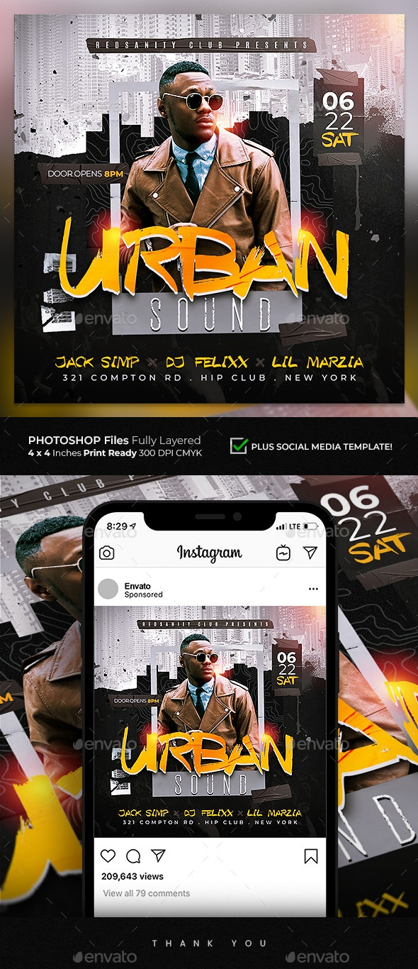 Urban Sound Flyer - Clubs & Parties Events