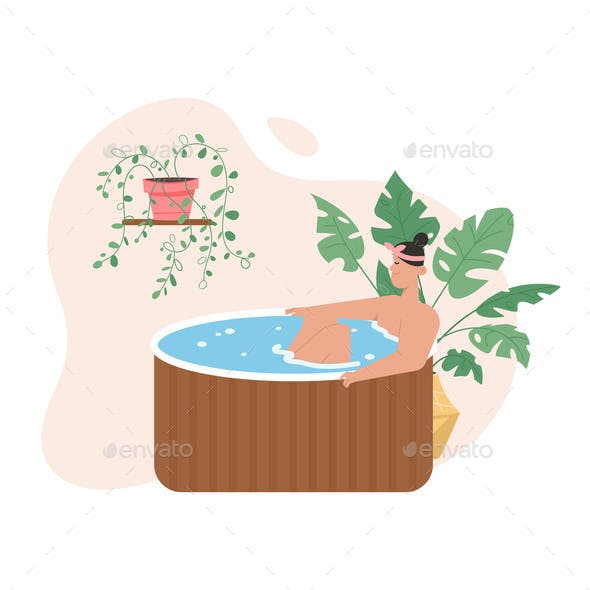 Smiling Woman Relaxing in Wooden Bathtub at Spa