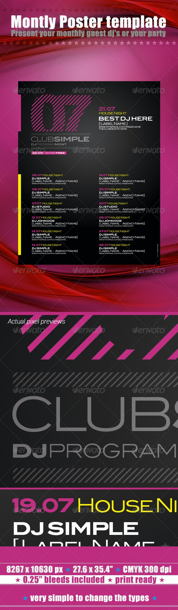 07 Montly Poster Template - Clubs & Parties Events