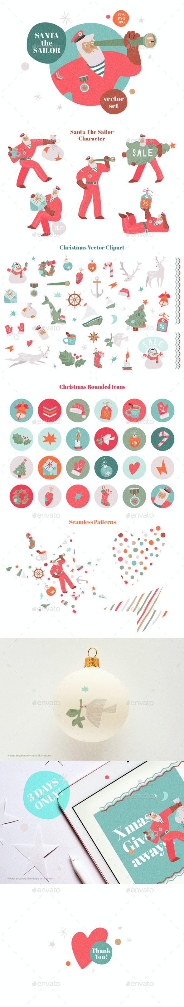 Santa The Sailor Vector Set - Christmas Seasons/Holidays