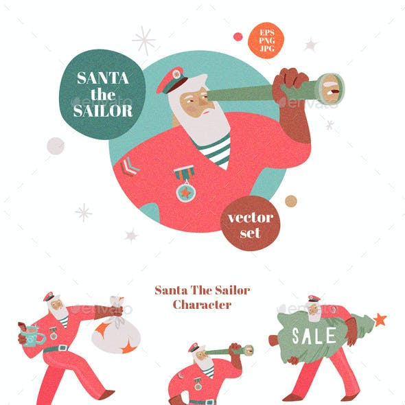 Santa The Sailor Vector Set
