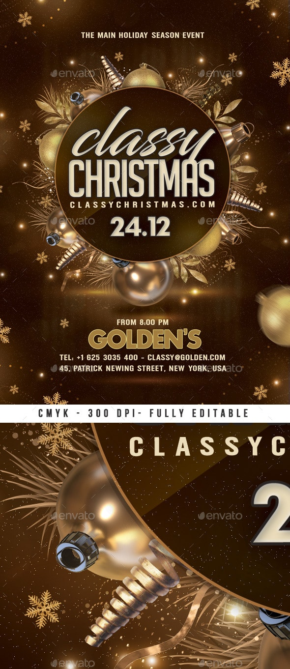 Classy Christmas Party Flyer - Clubs & Parties Events