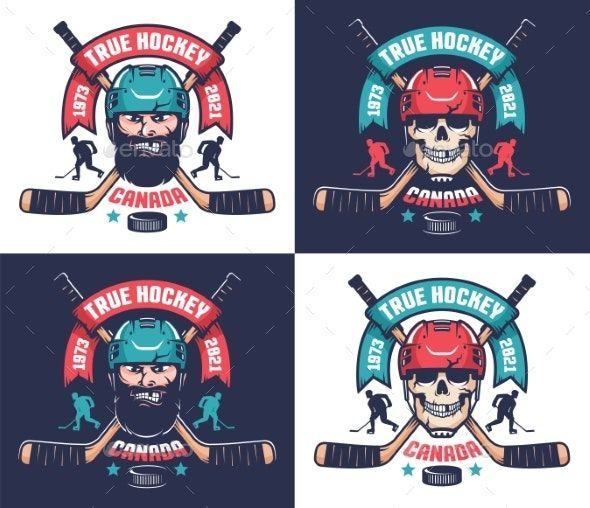 Hockey Club Emblem in Vintage Style - Miscellaneous Vectors
