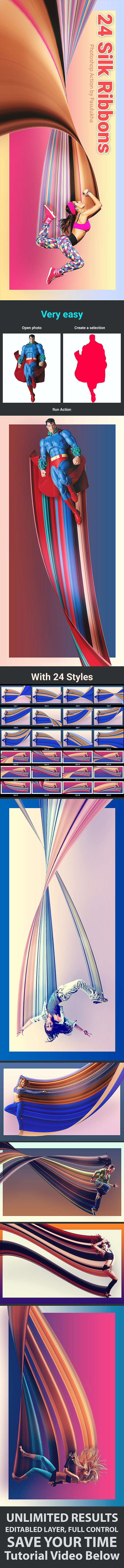 24 Silk Ribbons - Photo Effects Actions