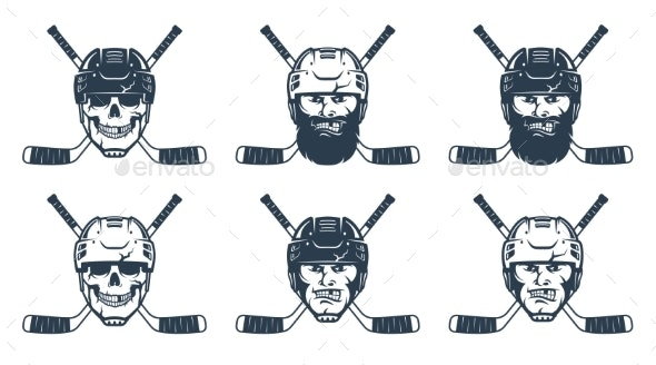 Hockey Player Head and Crossed Sticks - Miscellaneous Vectors