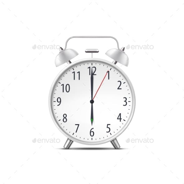 Alarm Clock, Realistic Isolated Classic Time Watch