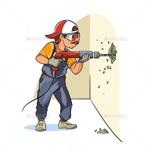 A Construction Worker Makes the Dismantling of the