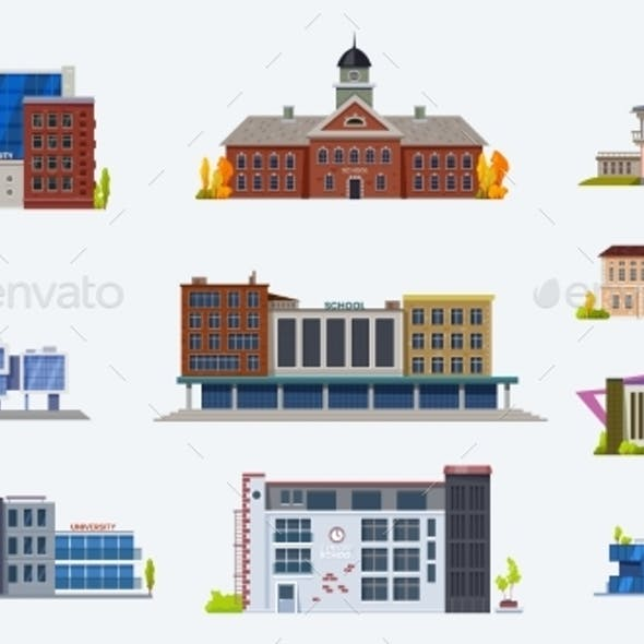 City Buildings Icons, School and University Set
