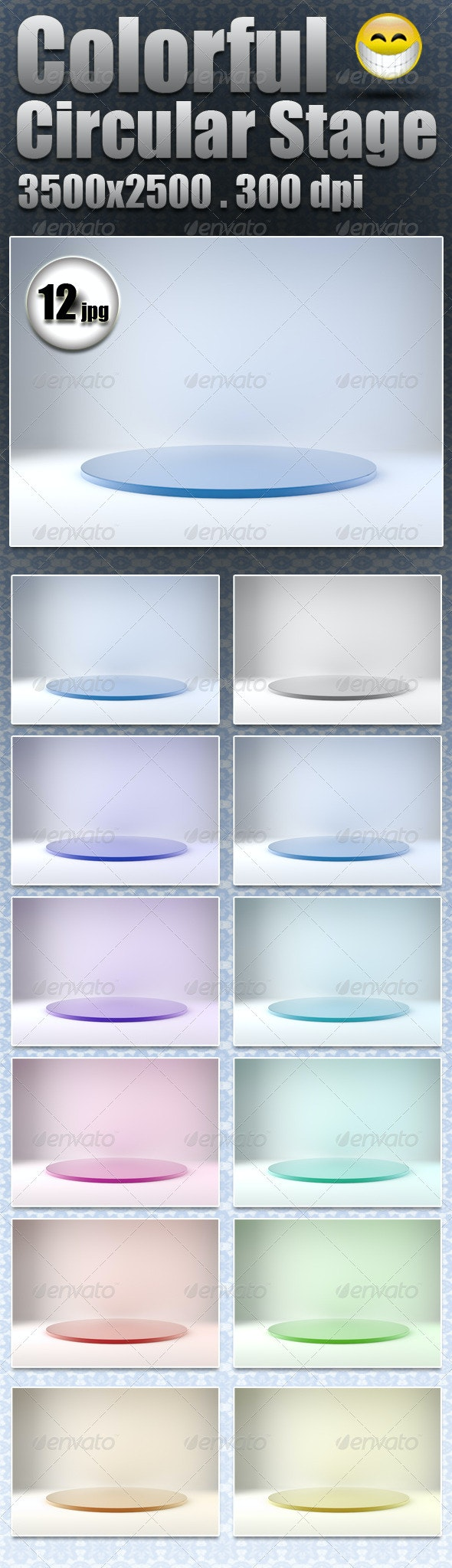 Colorful Circular Stage - 3D Backgrounds
