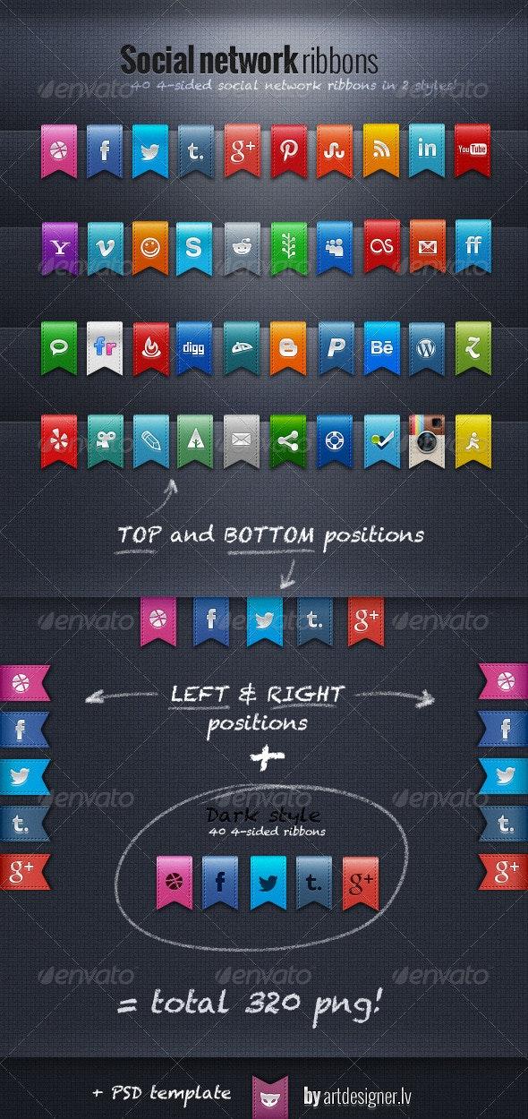 Social Network Ribbons - Media Icons