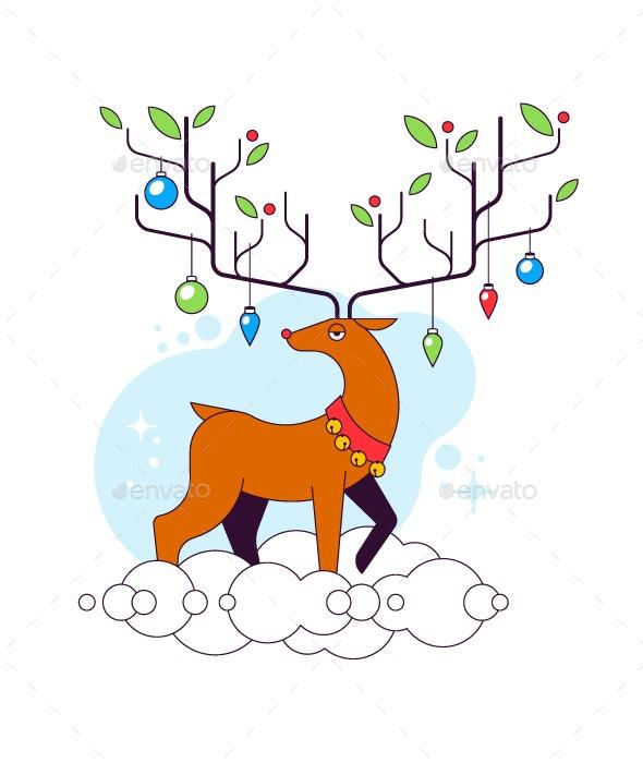 Reindeer on the clouds illustration - Christmas Seasons/Holidays