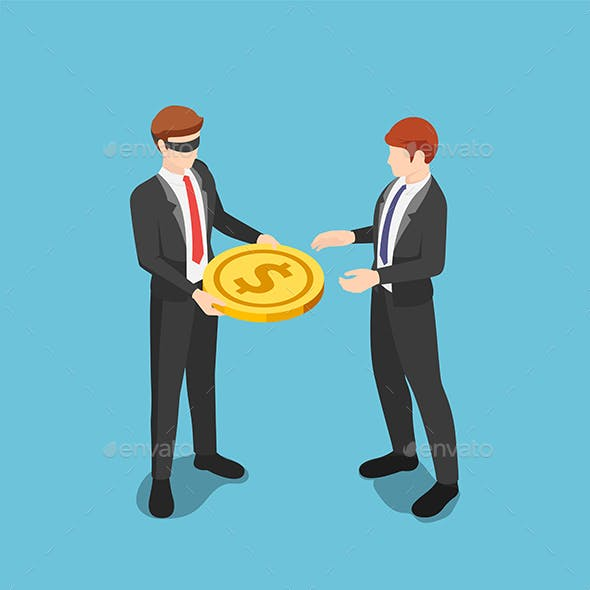 Isometric Blindfolded Businessman Giving Dollar Coin Money to Other Business People