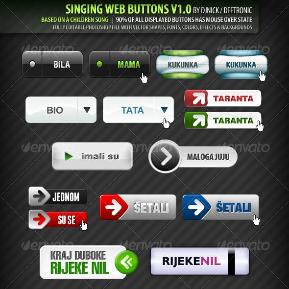 44 Singing Web Buttons - editable layered PSD file