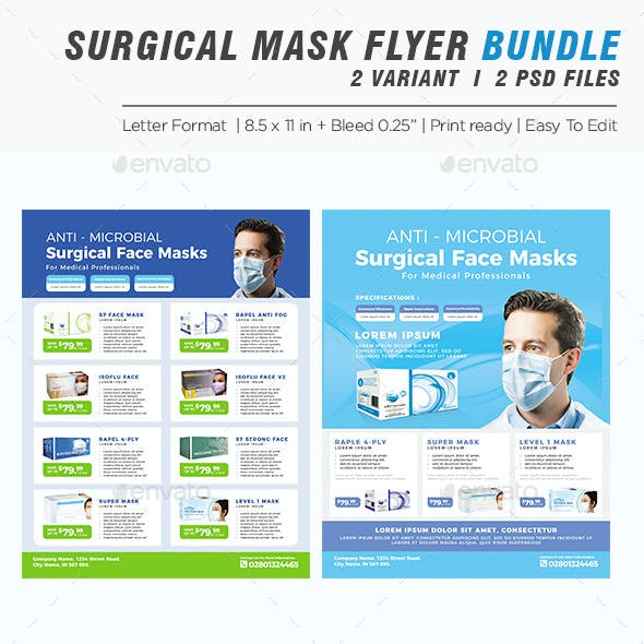 Product Flyer Bundle - Surgical Mask Flyer Template