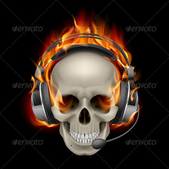 Flaming Skull with headphones - Miscellaneous Characters