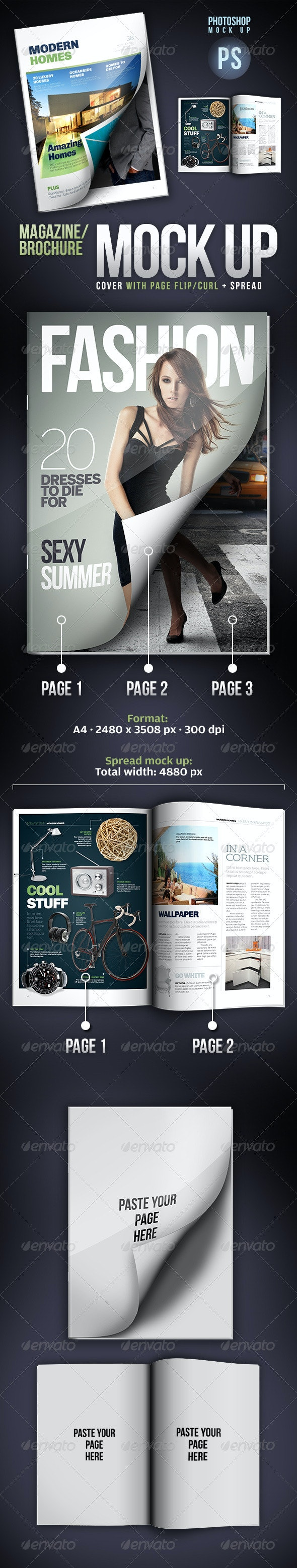 Cover Mock-up Page Flip/Curl + Spread Mock-up - Magazines Print