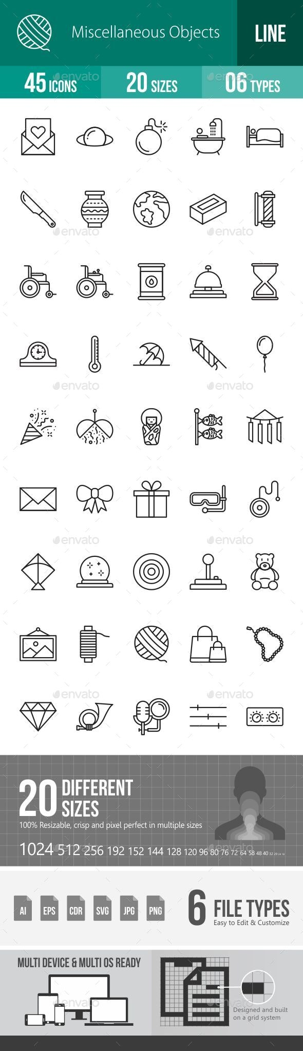 Miscellaneous Objects Line Icons - Icons
