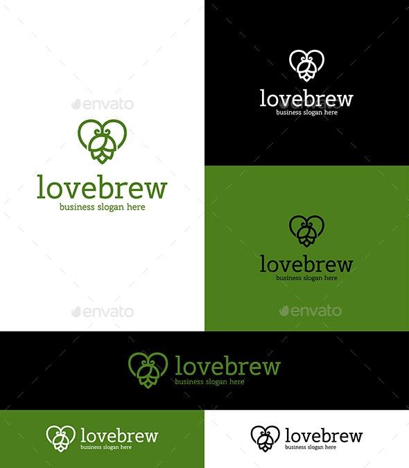 Love Beer Hop Logo Symbol - Nature Logo Templates