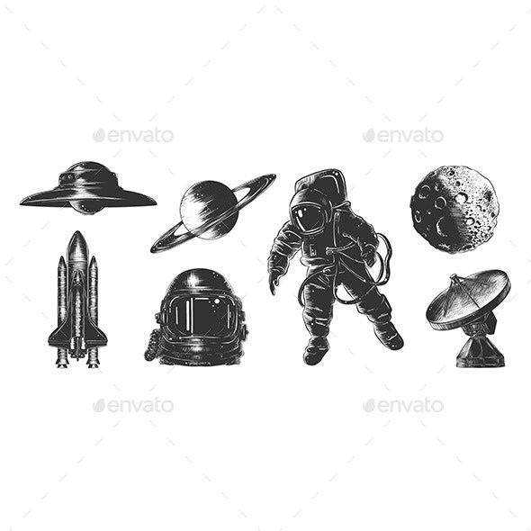 Vector Engraved Style Space Or Cosmic Collection - Miscellaneous Conceptual