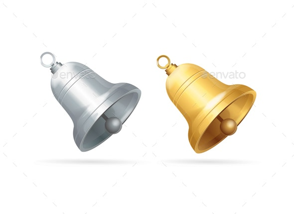 Realistic Detailed 3d Different Bell Set - Man-made Objects Objects