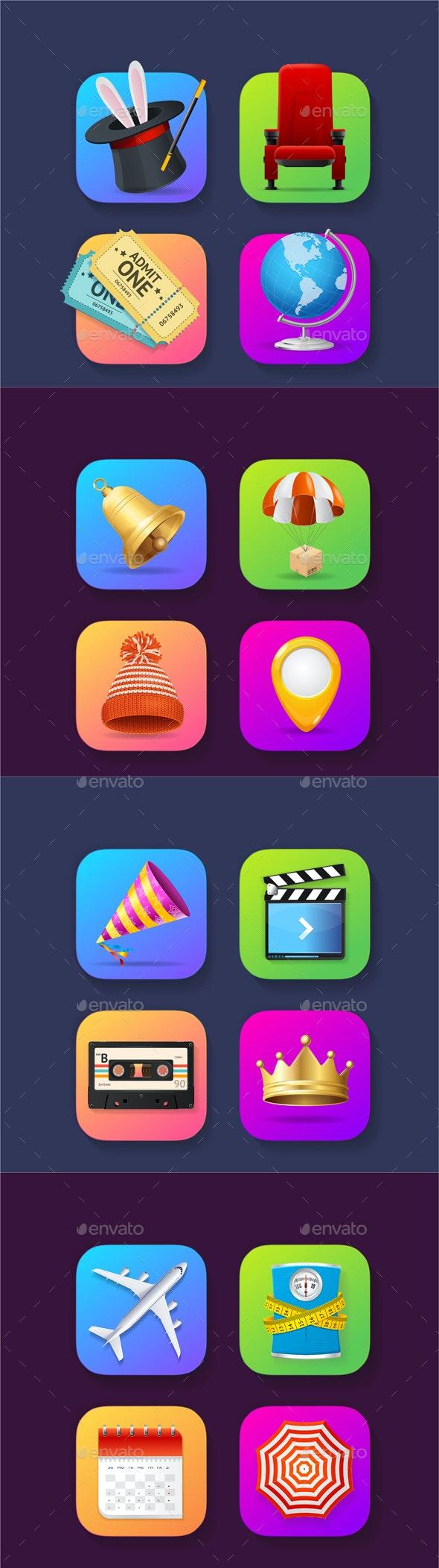 Realistic Detailed 3d Mobile Application Icons Set - Web Elements Vectors