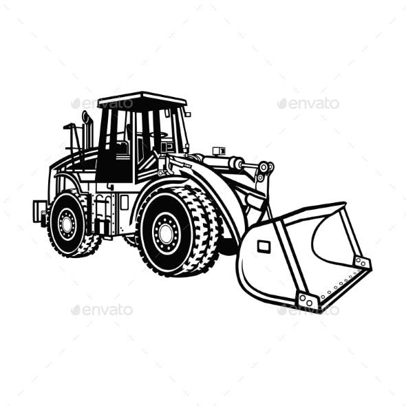 Front Wheel Loader Bulldozer Equipment - Isolated