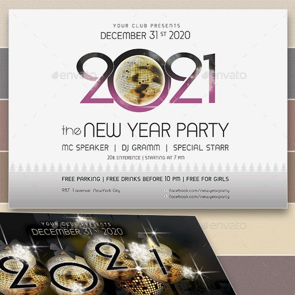 2021 New Year Party Flyers. 5 Different Styles.