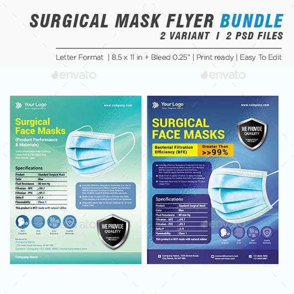 Product Flyer Bundle - Disposable Surgical Mask Flyer Template