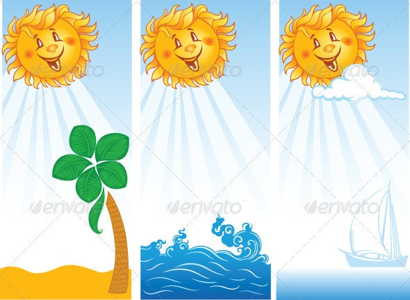 Three Summer Banners with Sun - Seasons Nature