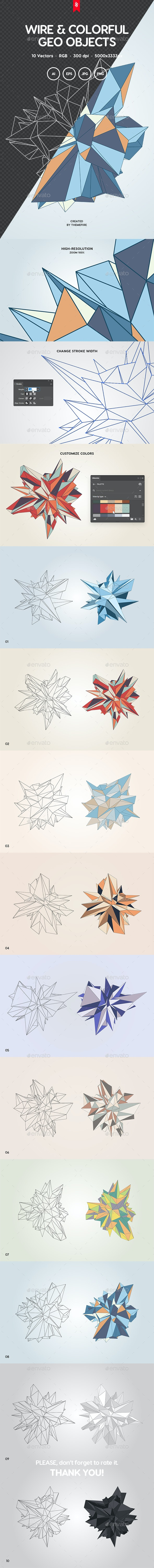 Wireframe and Colorful Polygon Objects - Abstract Backgrounds