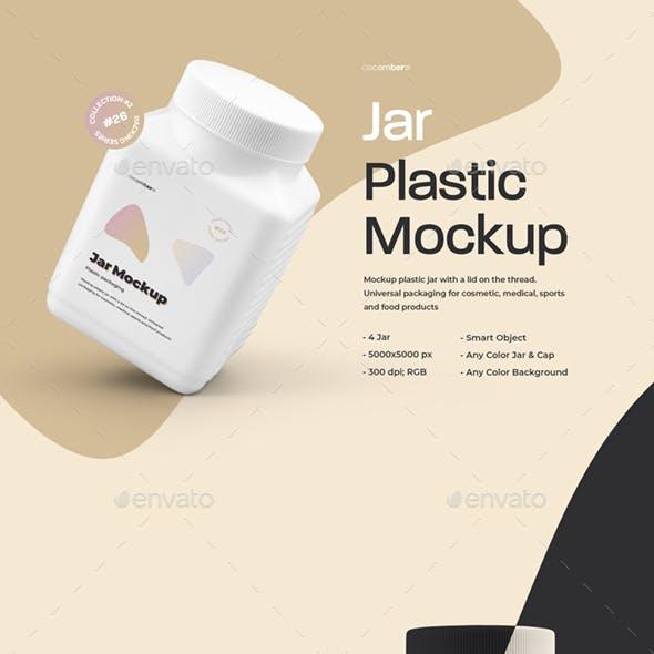 4 Mockups Big Plastic Jar With Cap
