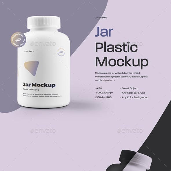 4 Mockups Plastic Jar For Pills and Capsules