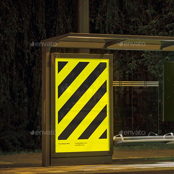 Night Bus Stop Poster Mockup