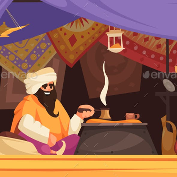 Asian Souk Cartoon Background