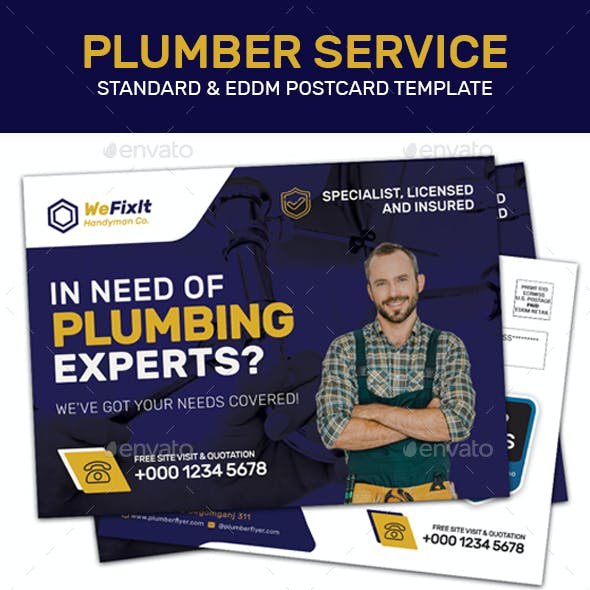 Plumber Service Postcard & Direct Mail EDDM