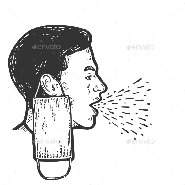 Coughing Man with Mask Removed Engraving Vector