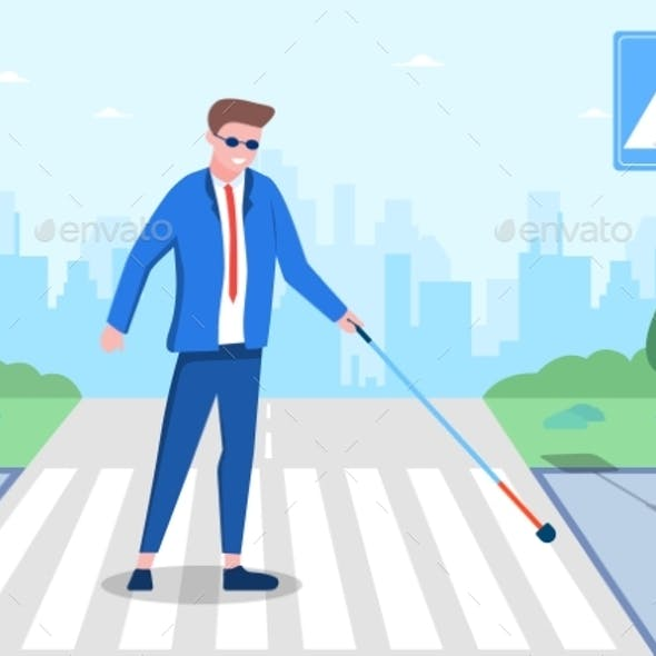 Blind Man with Cane Going on Road Zebra
